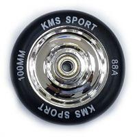 Колесо КМС 100 мм с литым пластиковым диском серебро