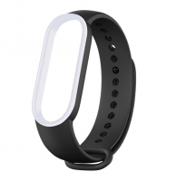 Сменный двухцветный ремешок на фитнес-браслет Xiaomi mi band 5 ( Черно-белый )