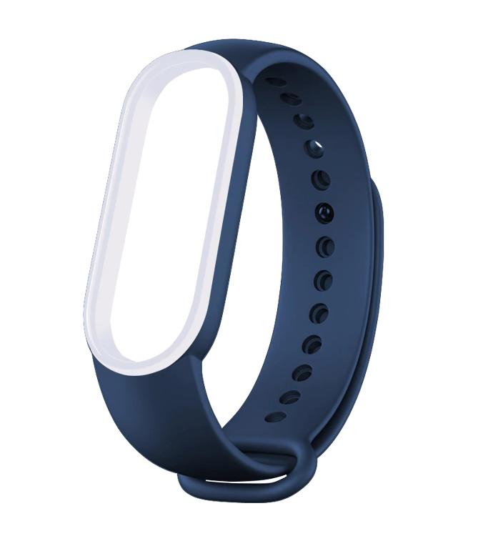 Сменный двухцветный ремешок на фитнес-браслет Xiaomi mi band 5 ( Сине-белый )