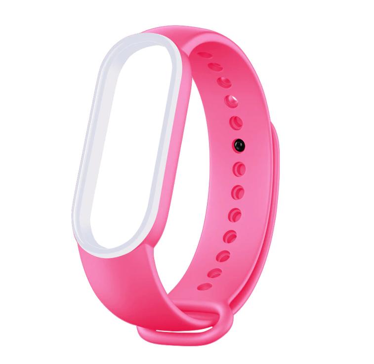 Сменный двухцветный ремешок на фитнес-браслет Xiaomi mi band 5/6 ( Розово-белый )
