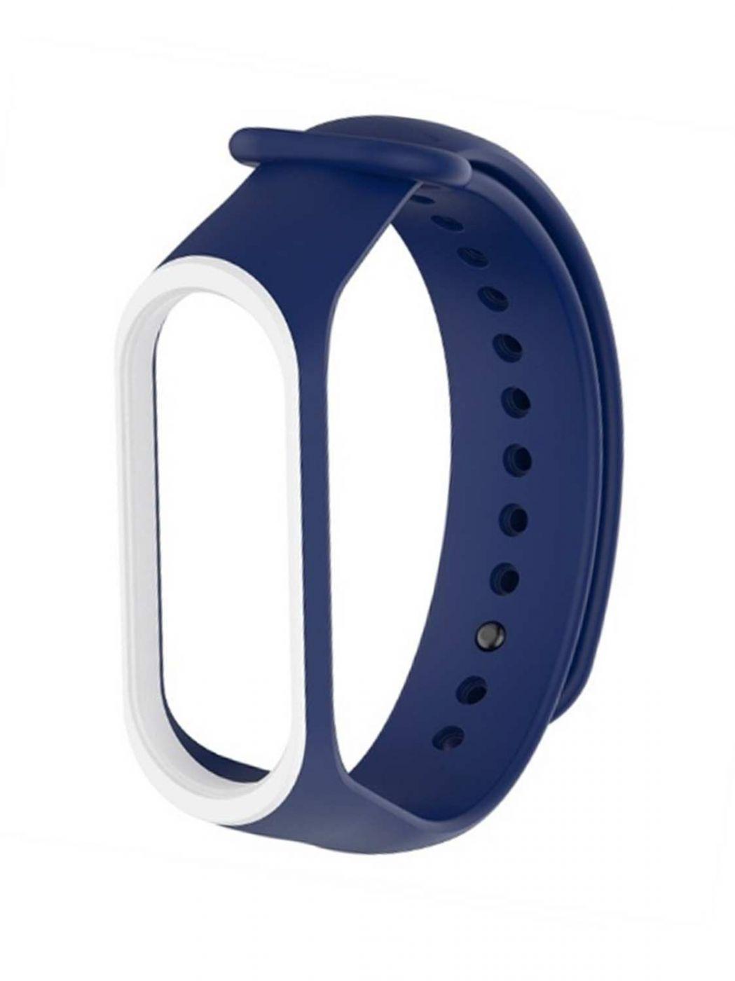Сменный двухцветный ремешок на фитнес-браслет Xiaomi mi band 5/6 ( Темно синий-белый )