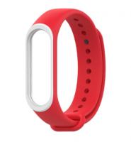 Сменный двухцветный ремешок на фитнес-браслет Xiaomi mi band 5 ( Красно-белый )