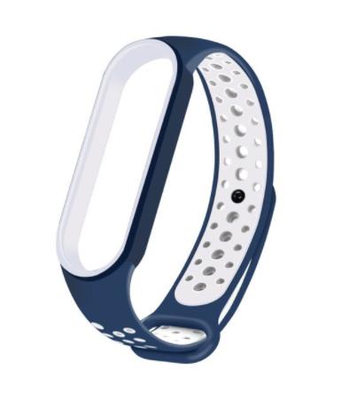 Спортивный ремешок на фитнес-браслет Xiaomi mi band 5/6 ( Сине-белый )