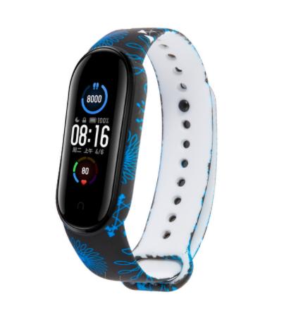 Сменный ремешок с рисунком на фитнес-браслет Xiaomi mi band 5 ( Графика Черно-синий )