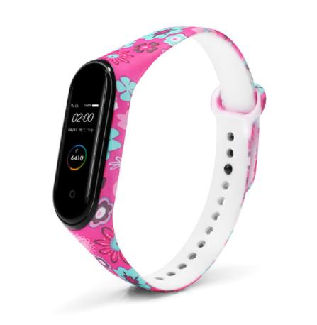 Сменный ремешок с рисунком на фитнес-браслет Xiaomi mi band 5 ( Цветы-розовые )