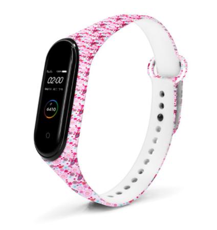 Сменный ремешок с рисунком на фитнес-браслет Xiaomi mi band 5/6 ( Бабочки-розовые)