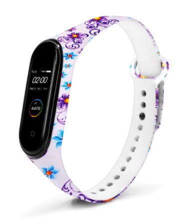 Сменный ремешок с рисунком на фитнес-браслет Xiaomi mi band 5/6 ( Цветы-фиолетовые )