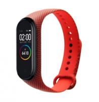 Сменный ремешок с рисунком на фитнес-браслет Xiaomi mi band 5/6 ( Треугольники-красный )