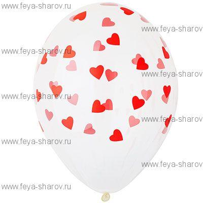 """Шар 14""""(34см) Сердца Кристалл"""