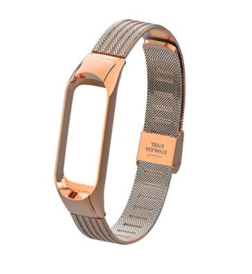 Сменный металлиский ремешок на фитнес-браслет Xiaomi mi band 5 ( Розовое Золото )