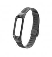 Сменный металлический ремешок на фитнес-браслет Xiaomi mi band 3/4 ( Черный )