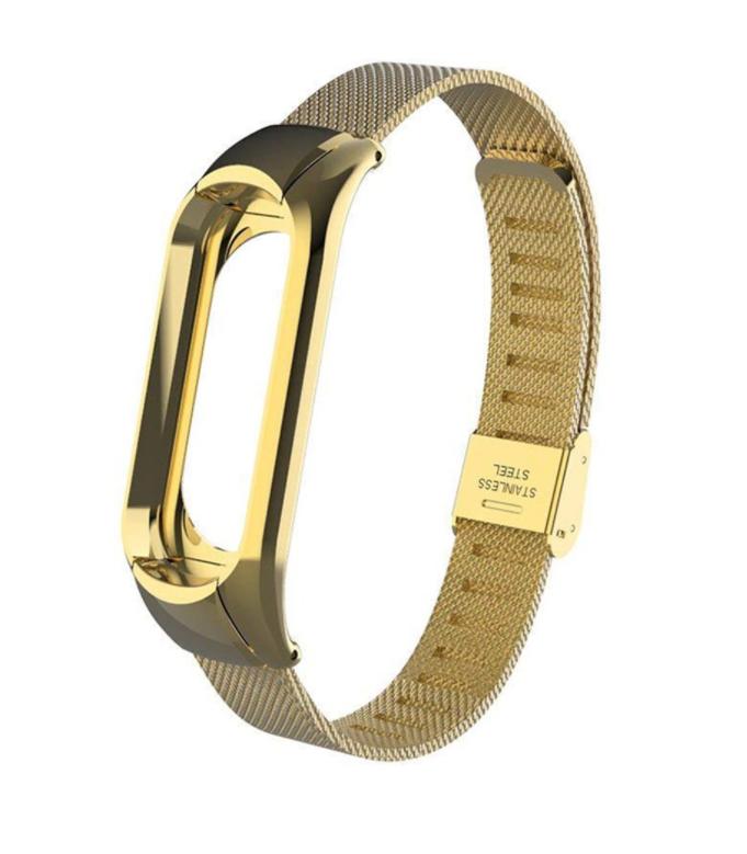 Сменный металлический ремешок на фитнес-браслет Xiaomi mi band 5 ( Золото )