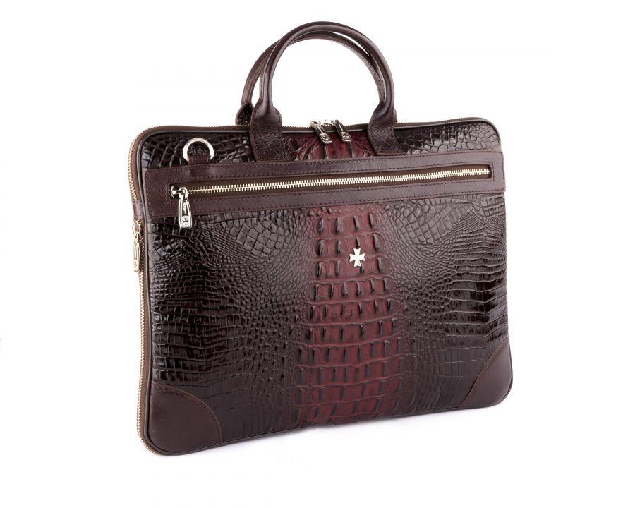 Портфель-сумка из натуральной кожи с увеличением объема Narvin 9742-N.Bambino Burgundy