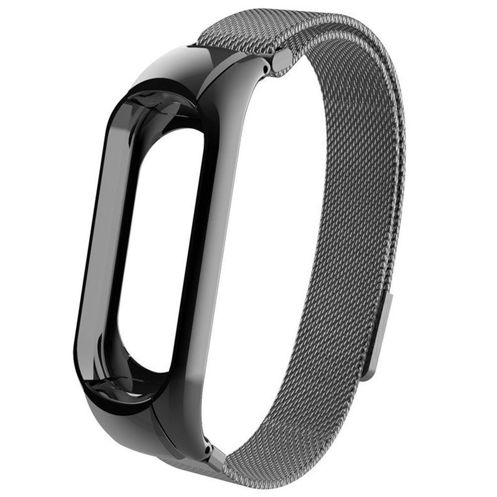 Сменный металлический ремешок с магнитной застежкой на фитнес-браслет Xiaomi mi band 5 ( Черный )