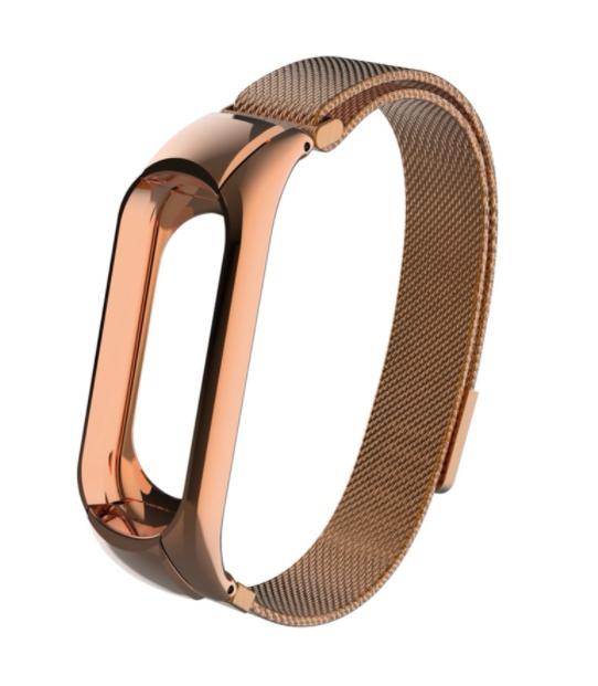 Сменный металлический ремешок с магнитной застежкой на фитнес-браслет Xiaomi mi band 5 ( Розовое Золото )