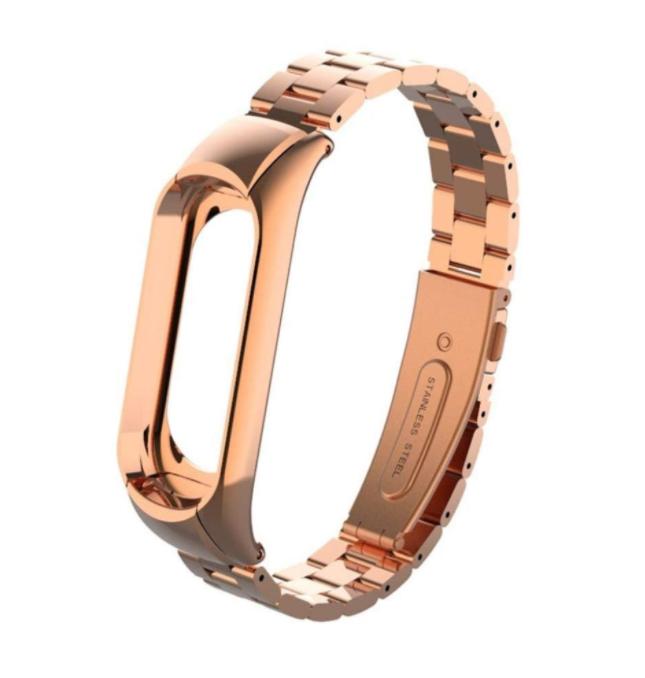 Сменный металлический ремешок с крупным звеном на фитнес - браслет Xiaomi Mi Band 5 ( Розовое Золото )