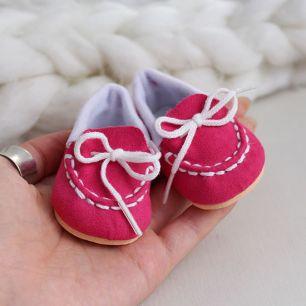 Обувь для кукол 6,5 см - Мокасины малиновые