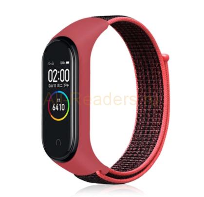 Сменный тканевый ремешок на фитнес-браслет Xiaomi mi band 5 ( Красный с черным ремешком )