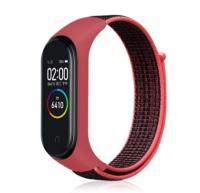 Сменный тканевый ремешок на фитнес-браслет Xiaomi mi band 5/6 ( Красный с черным ремешком )