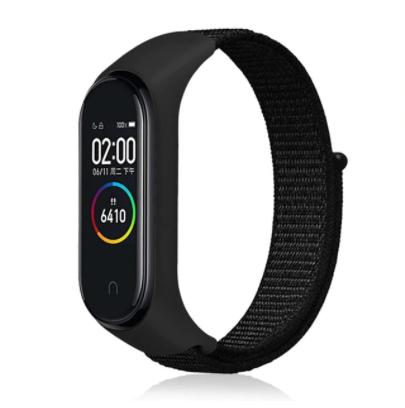 Сменный тканевый ремешок на фитнес-браслет Xiaomi mi band 5 ( Черный )