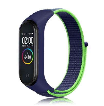 Сменный тканевый ремешок на фитнес-браслет Xiaomi mi band 5/6 ( Синий с зеленой полоской )