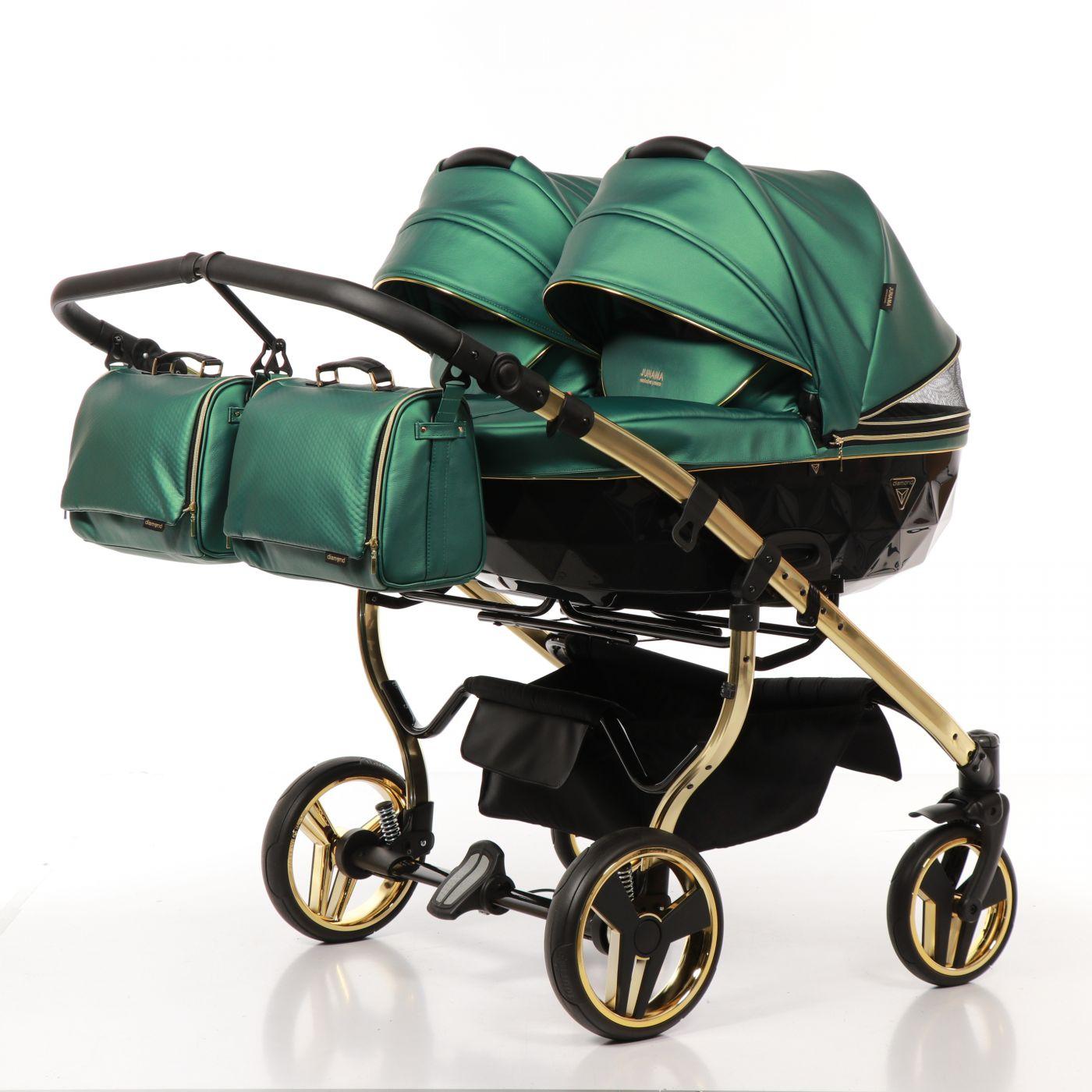 JUNAMA FLUO LINE DUO JDFL-02 Коляска детская 2 в 1 (кожа зеленый/короб черный/рама золото)
