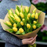25 желтых тюльпанов в бумаге