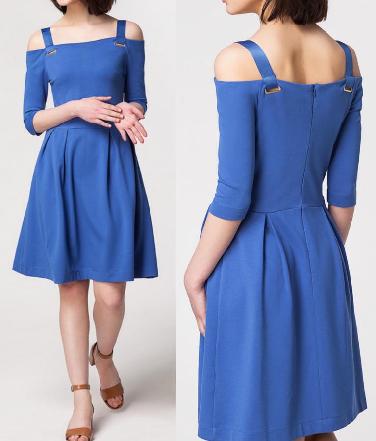 ДИСКОНТ VILATTE D42.159 Платье женское синий