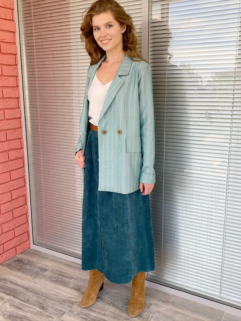 s1918 Жакет мятного цвета в ёлочку-полосочку