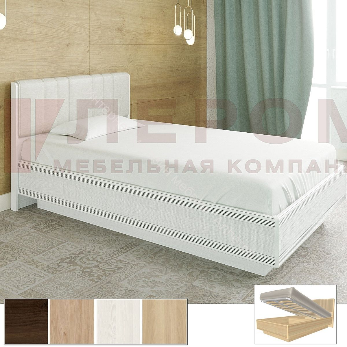 Карина Кровать КР-1012 (1,4х2,0) с П/Мех. и мягким изголовьем