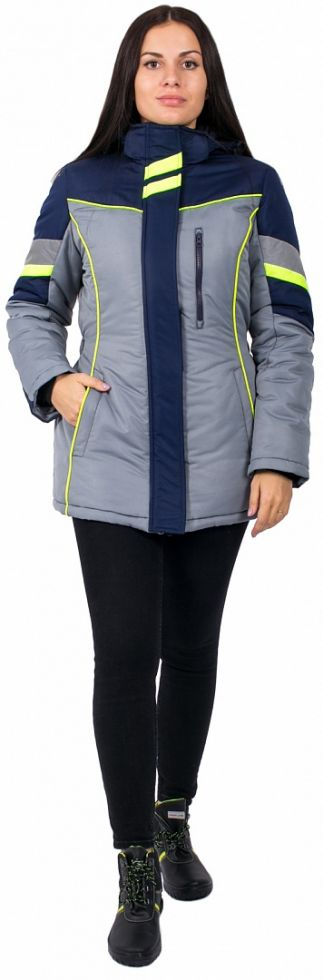 Куртка зимняя женская PROFLINE SPECIALIST (тк.Таслан), серый/т.синий