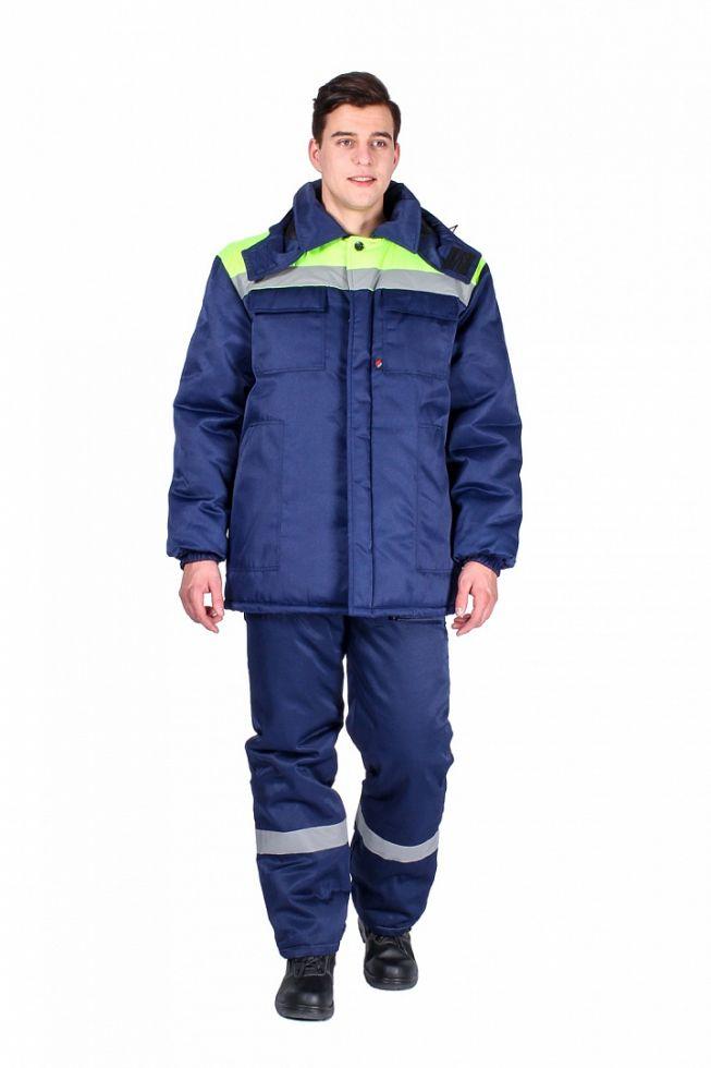 Куртка зимняя мужская Эксперт-Люкс (тк.Смесовая,210), т.синий/лимонный