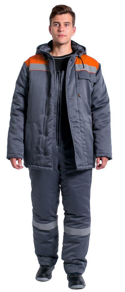 Костюм зимний Партнер NEW (тк.Смесовая,210) п/к, т.серый/оранжевый