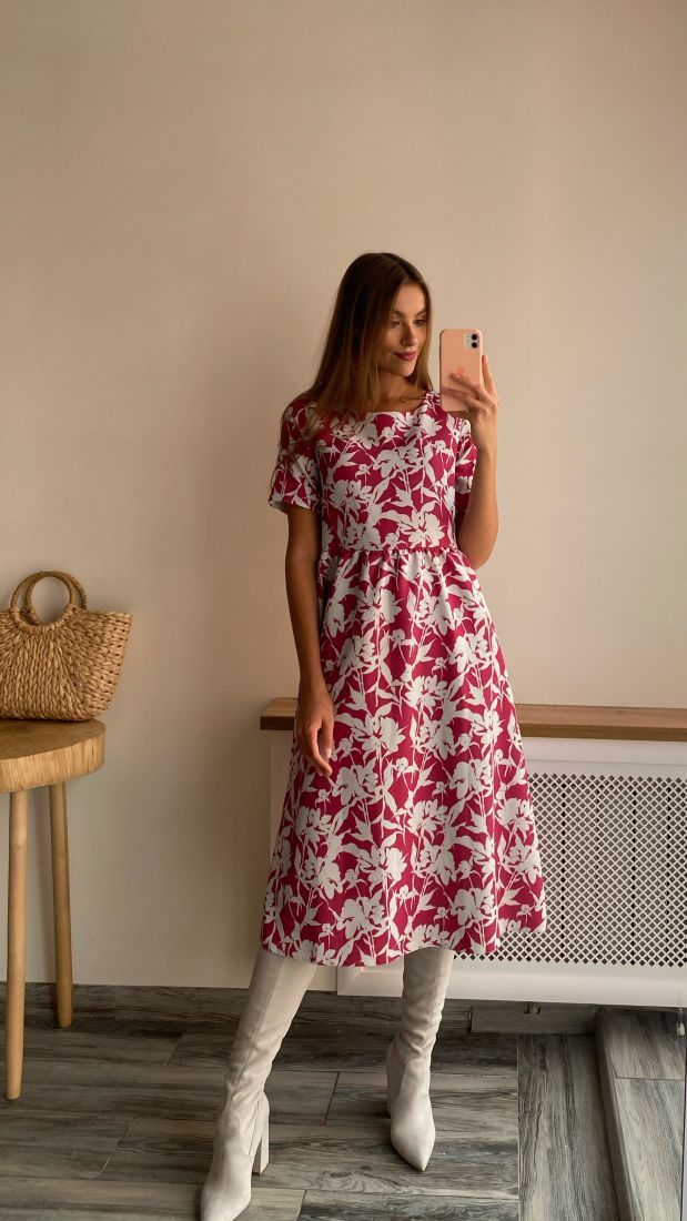 s2339 Платье серо-розовое