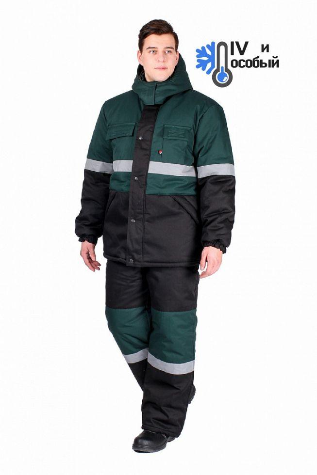 Костюм зимний мужской Профи-Норд (тк.Балтекс,210) п/к, черный/зеленый