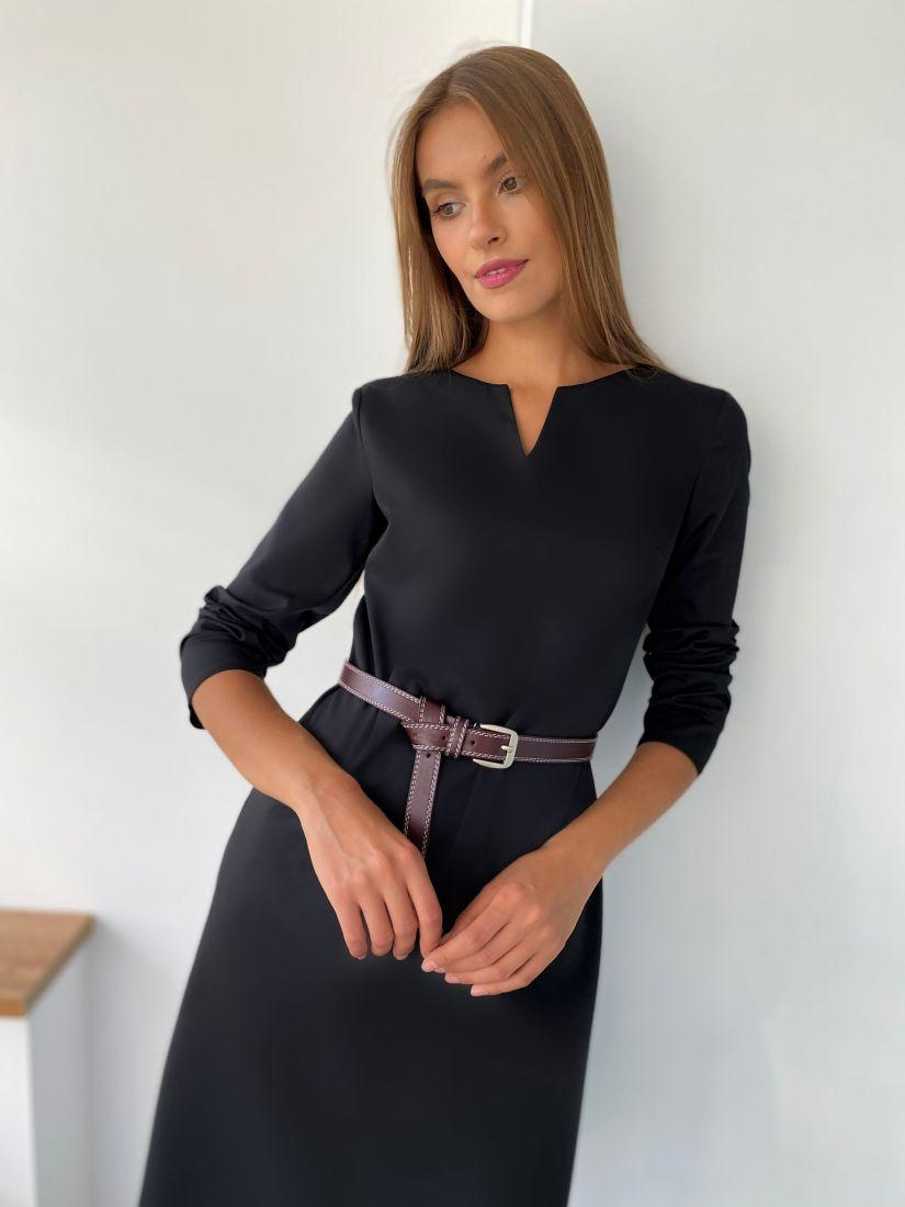 s2348 Платье с фигурной горловиной чёрное