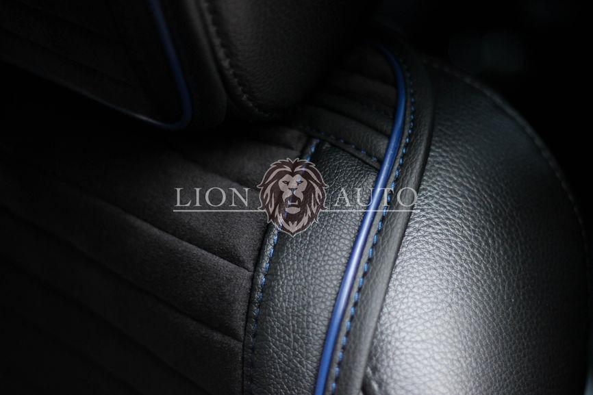Накидки на сиденья из велюра Premium (синий кант)