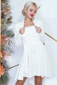 Белое коктейльное платье-двойка с болеро