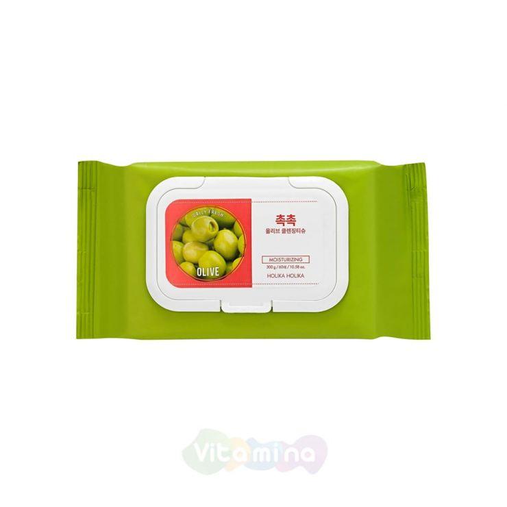 Holika Holika Cалфетки для удаления макияжа Daily Fresh Olive Cleansing Tissue, 60 шт