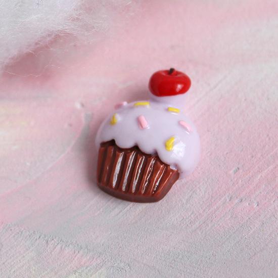 Кукольная миниатюра - Кабошон кексик сиреневый, 2 см