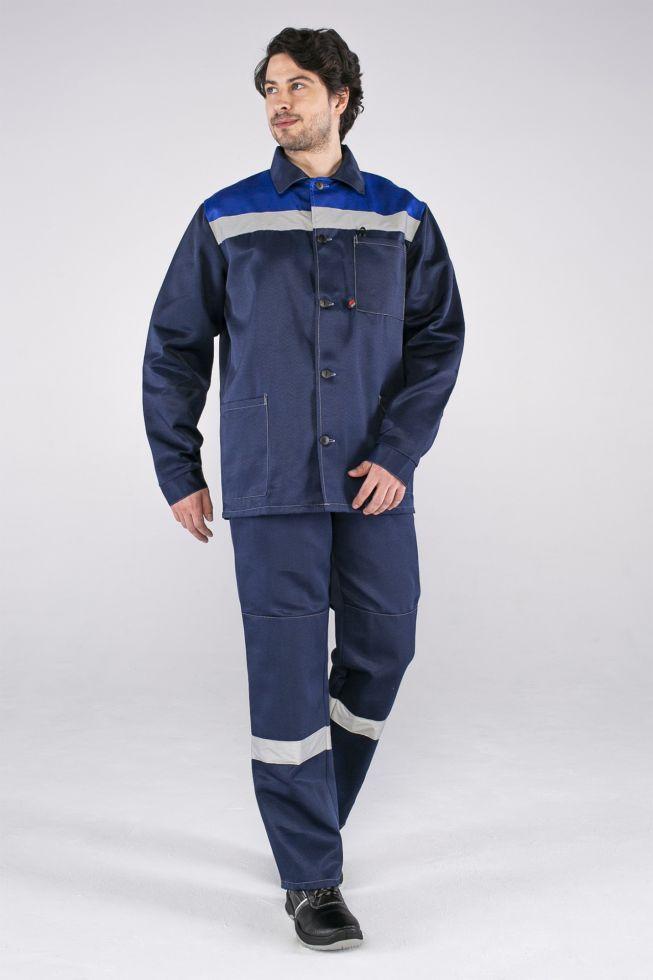 Костюм Стандарт СОП усиленный (тк.Смесовая,210) брюки, т.синий/васильковый