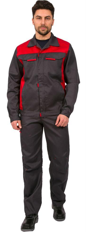Костюм Идеал NEW (тк.Балтекс,210) брюки, т.серый/красный