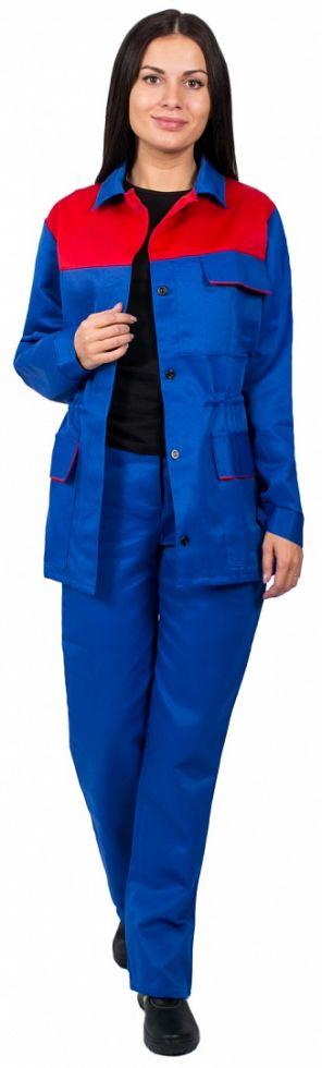 Костюм женский Передовик (тк.Смесовая,210) брюки, васильковый/красный