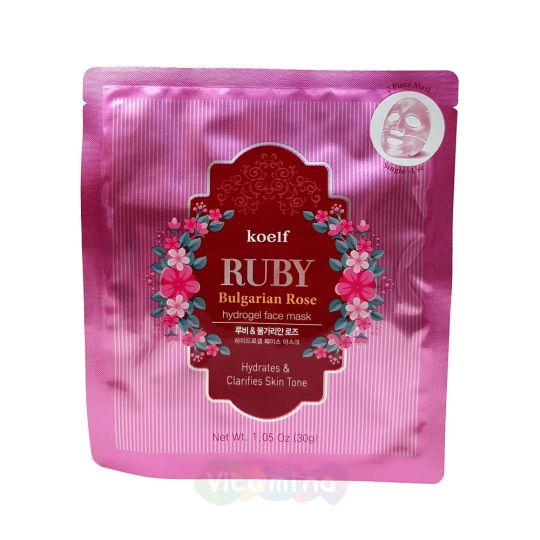 Koelf Гидрогелевая маска с рубиновой пудрой и болгарской розой Ruby & Bulgarian Rose Mask Pack, 30 г