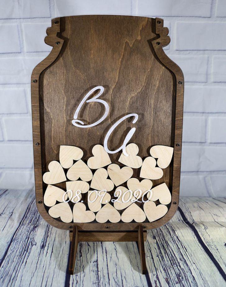 Стенд для пожеланий на свадьбу из дерева банка