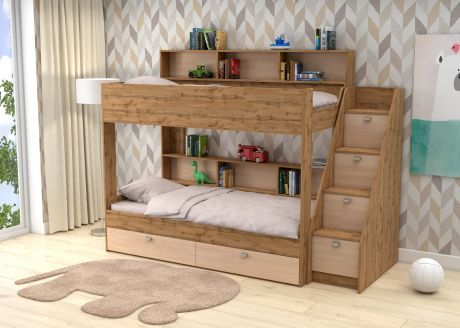 Двухъярусная кровать Golden Kids 10 (корпус дуб ВОТАН)
