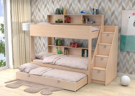 Трехъярусная кровать Golden Kids 10.1 (корпус дуб молочный)