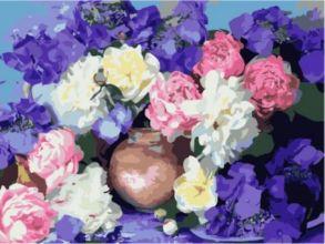 Картина по номерам «Пионы и гортензия» 30x40 см