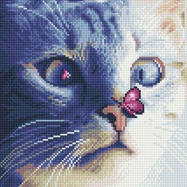 Алмазная вышивка Кот с бабочкой (30 х 30 см) картина стразами