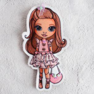 Набор для шитья текстильного брелока-подвески Модница в розовом